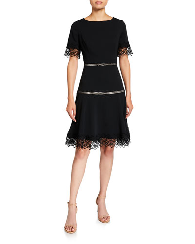 Lace-Trim Crepe Fit-and-Flare Dress