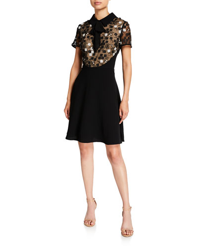 Floral Applique Fit-&-Flare Dress with Collar
