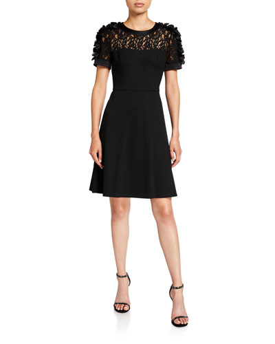 Short-Sleeve Fit-&-Flare Dress with Flower Appliques