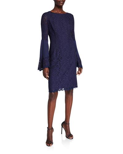 Boho Flared-Sleeve Lace Sheath Dress