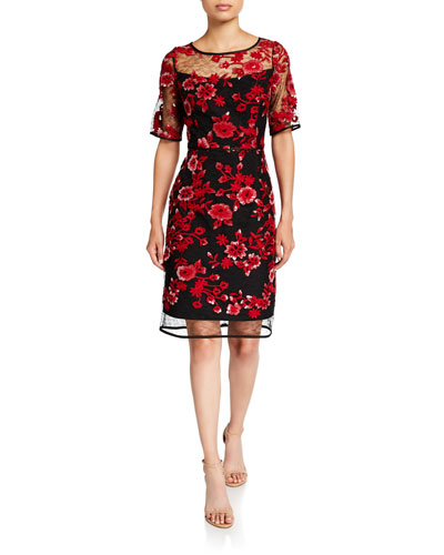Embroidery Illusion Elbow-Sleeve Cocktail Dress