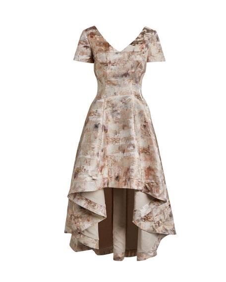 Shani Short-Sleeve High-Low Jacquard Dress