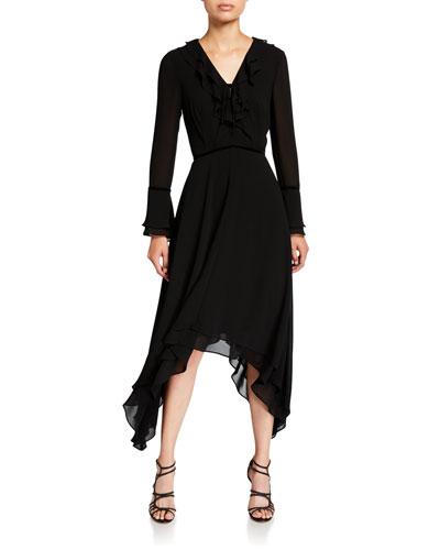 V-Neck Long-Sleeve Hanky Georgette Ruffle Dress