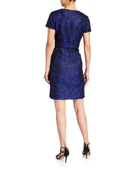 Shani Short-Sleeve Jacquard Bow Detail Dress