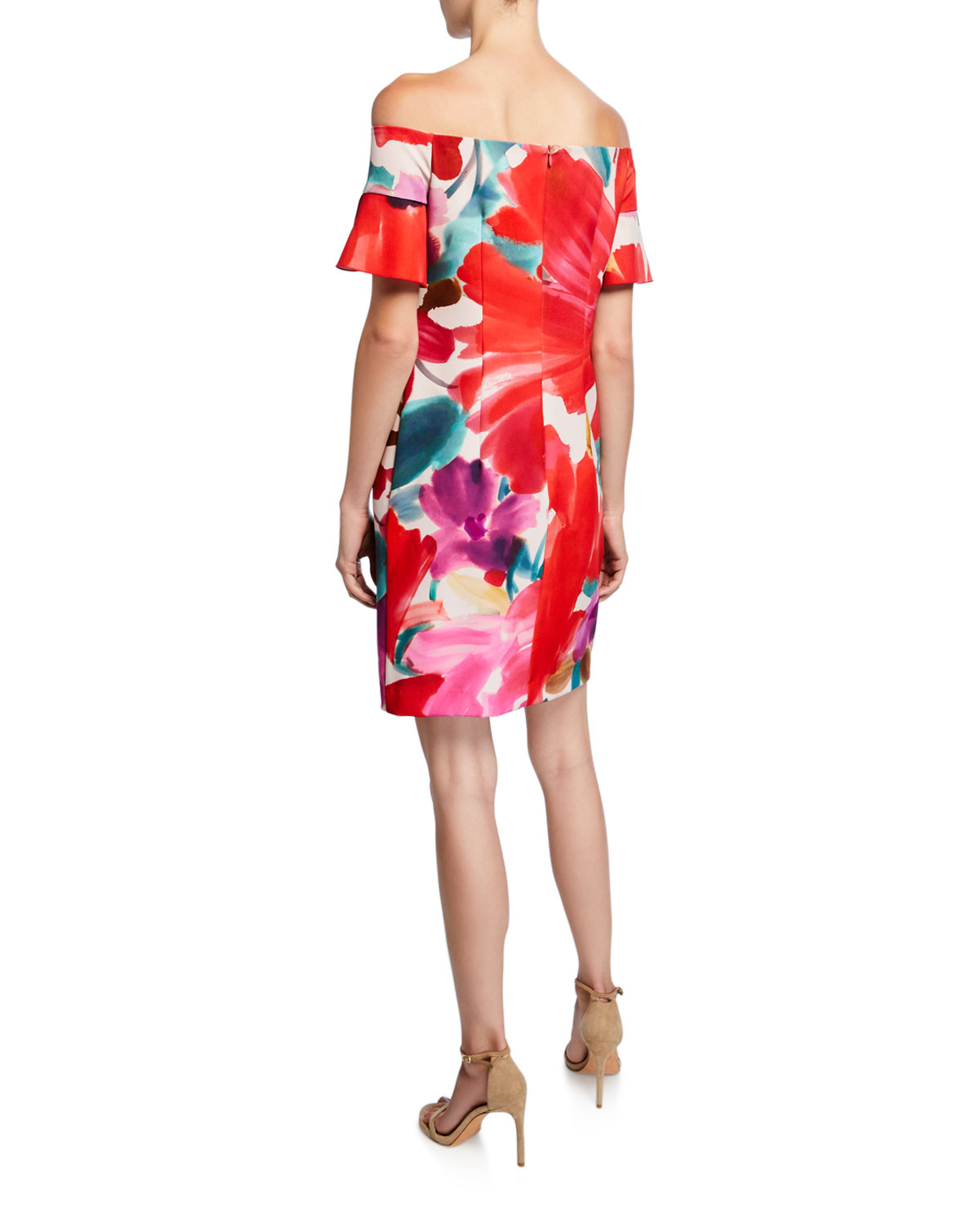 Modern Floral Off The Shoulder Dress by Trina Turk
