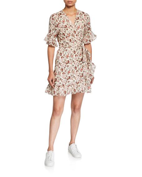 WAYF Kaitlyn Floral Ruffle-Trim Mini Wrap Dress