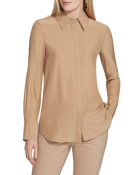 Lafayette 148 New York Julianne Matte Silk Button-Down Blouse