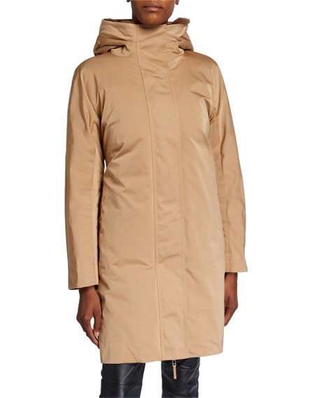 Lafayette 148 New York Sinclair Reversible Couture Cloth Hooded Coat w/ Mink Combo