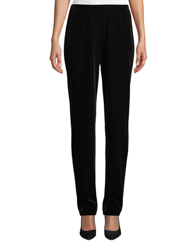 Petite Stretch Velvet Straight-Leg Pants