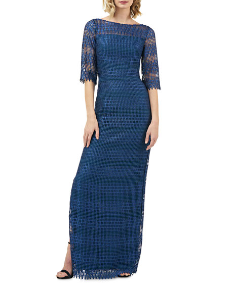 Kay Unger New York Chemical Lace Elbow-Sleeve Column Gown