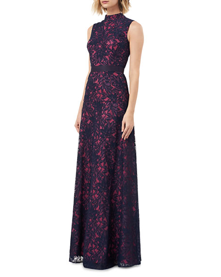 Kay Unger New York Mock-Neck Sleeveless Contrasting Lace Gown