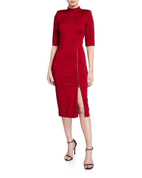 Alice + Olivia Inka Strong-Shoulder Slit Midi Dress