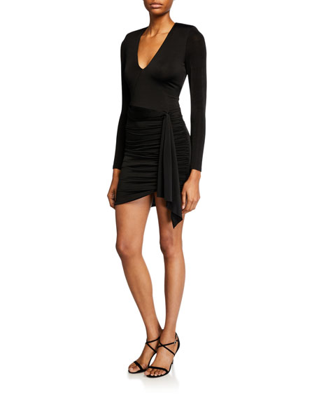 Alice + Olivia Kyra Deep V Drapey Long-Sleeve Mini Dress