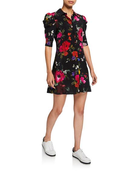 Alice + Olivia Jem Floral Gathered-Sleeve Shirt Dress