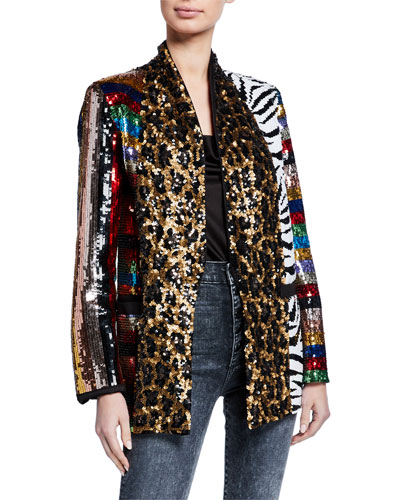 Kylie Sequin Shawl-Collar Jacket