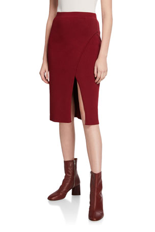 Jonathan Simkhai Deep Rib Wrap Skirt with Slit