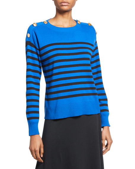 Joan Vass Plus Size Striped Cotton Sweater with Button Details