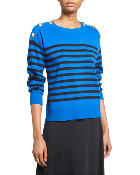 Joan Vass Sweaters PLUS SIZE STRIPED COTTON SWEATER WITH BUTTON DETAILS
