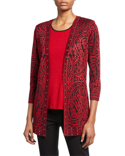 Petite Paisley 3/4-Sleeve Long Jacket with Stud Detail