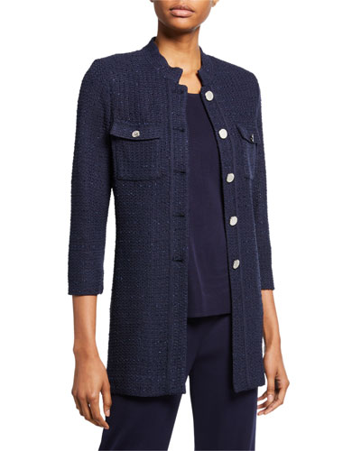 Petite 3/4-Sleeve Button-Front Textured Jacket