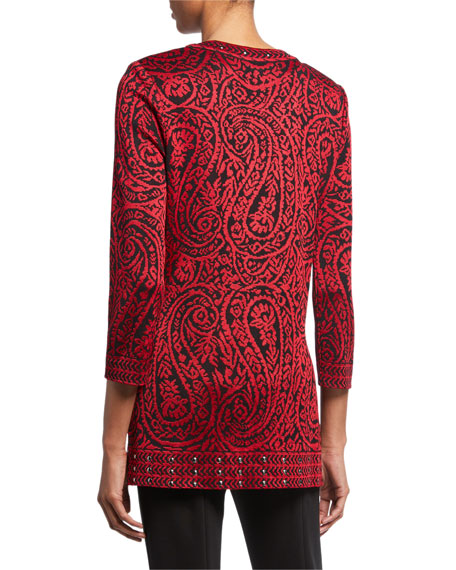 Misook Plus Size Paisley 3/4-Sleeve Long Jacket with Stud Detail