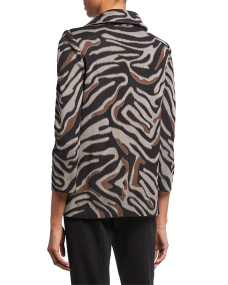 Misook Petite Zip-Front Animal-Print Jacket with Ruched Collar