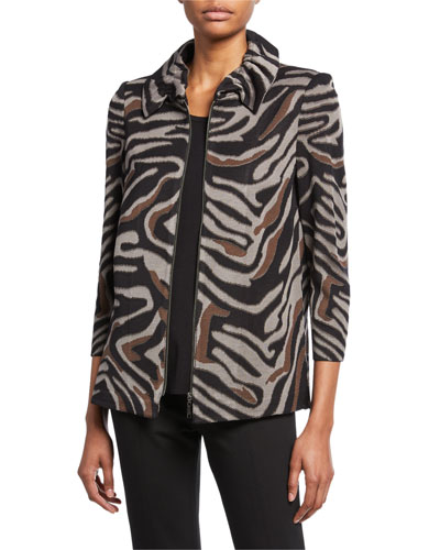 Petite Zip-Front Animal-Print Jacket with Ruched Collar