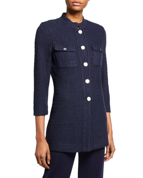 Misook Plus Size 3/4-Sleeve Button-Front Textured Jacket