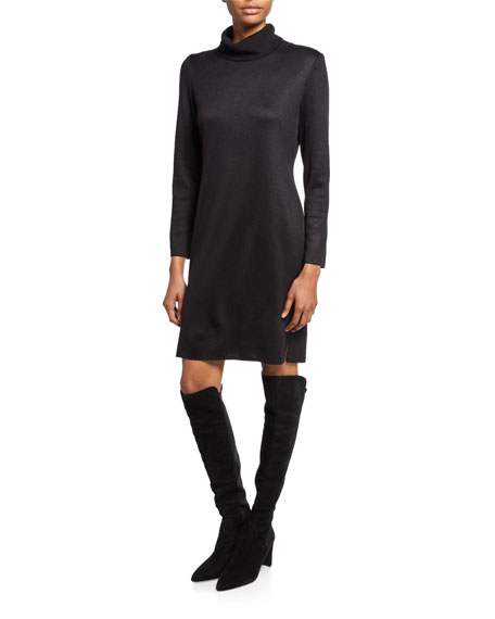 Image 1 of 2: Misook Petite Long-Sleeve Turtleneck Dress