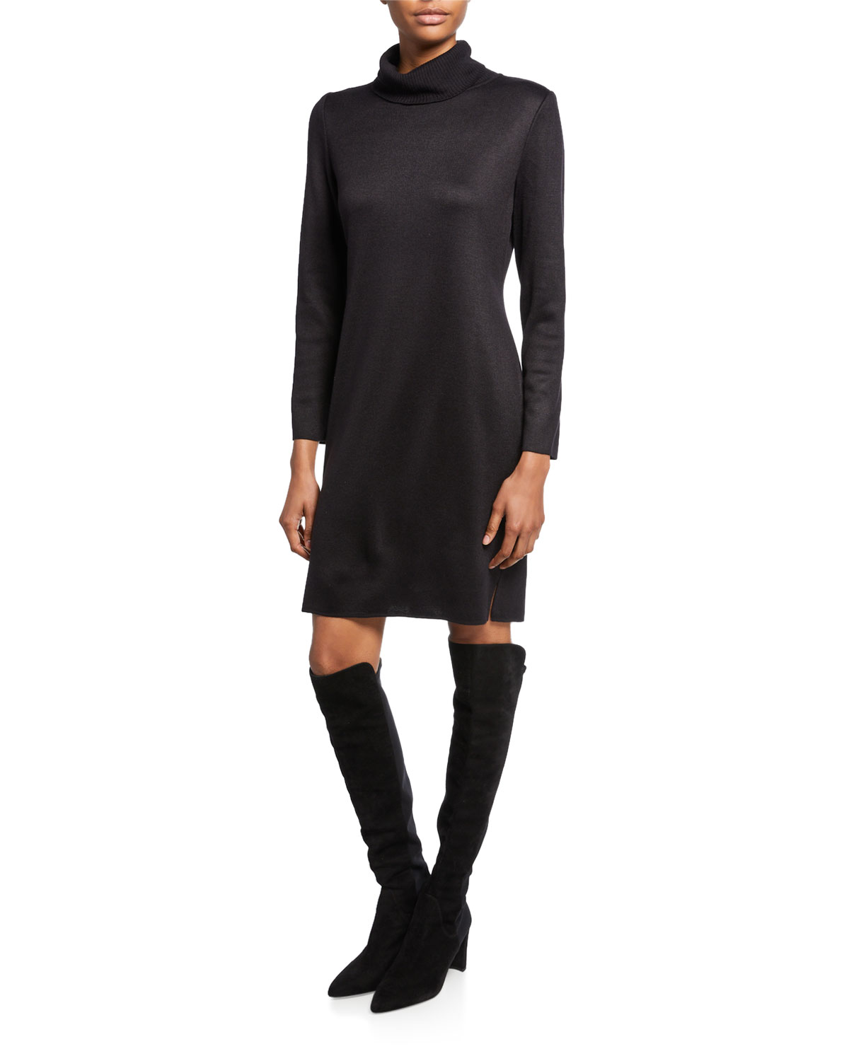 Misook Petite Long-Sleeve Turtleneck Dress