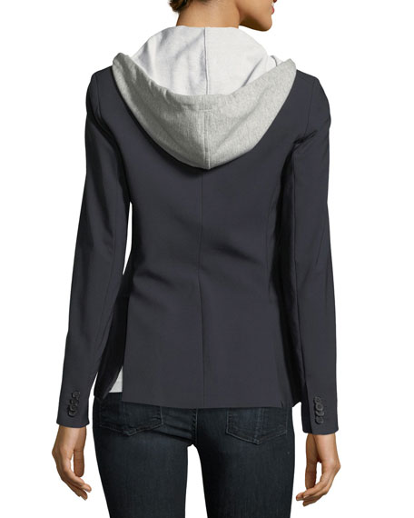 Image 2 of 4: Veronica Beard Cashmere Hoodie Zip-Front Dickey