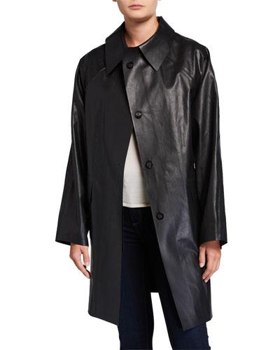 Above-the-Knee Oil Finish Raincoat  Black