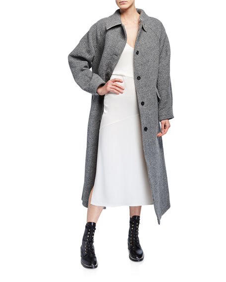 Image 2 of 3: Kassl Wool-Blend Button Maxi Coat