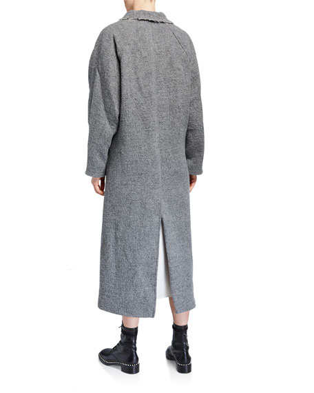 Image 3 of 3: Kassl Wool-Blend Button Maxi Coat