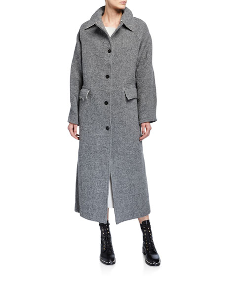 Image 1 of 3: Kassl Wool-Blend Button Maxi Coat