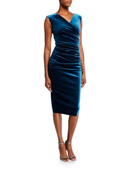 Chiara Boni La Petite Robe Sleeveless Shirred Velvet Dress