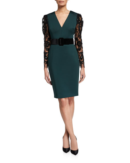 Badgley Mischka Collection V-Neck Lace-Sleeve Belted Scuba Combo Dress
