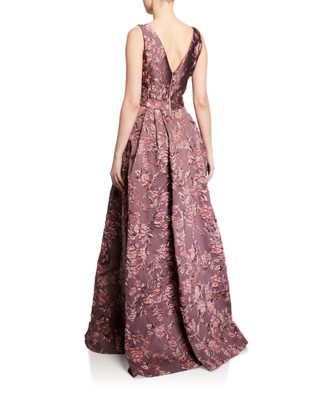 Image 2 of 2: Badgley Mischka Collection Deep V-Neck Sleeveless Brocade Ball Gown