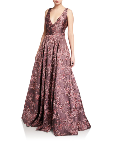 Image 1 of 2: Badgley Mischka Collection Deep V-Neck Sleeveless Brocade Ball Gown