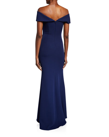 Image 2 of 2: Badgley Mischka Collection Off-the-Shoulder Gown with Beaded Detail & Thigh Slit