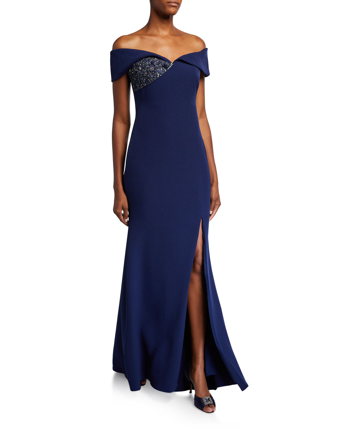 Badgley Mischka Collection Off-the-Shoulder Gown with Beaded Detail & Thigh Slit