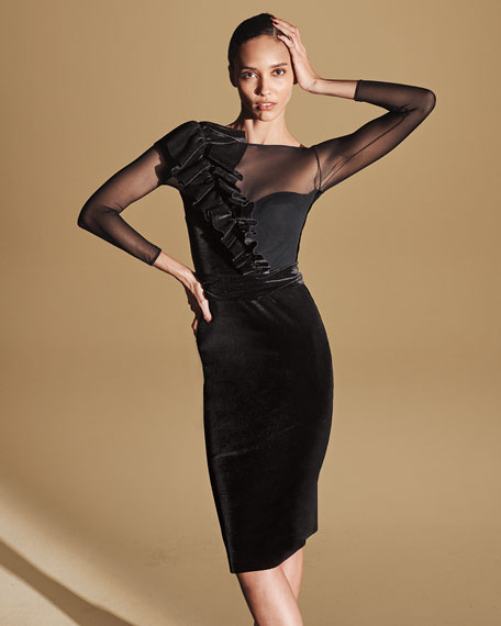 Image 2 of 3: Chiara Boni La Petite Robe Bracelet-Sleeve Illusion Dress with Asymmetric Ruffle Detail