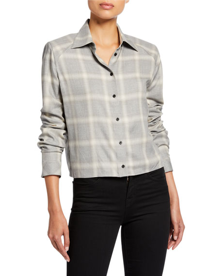 Image 1 of 2: RtA Maxine Cropped Plaid Button-Up Top