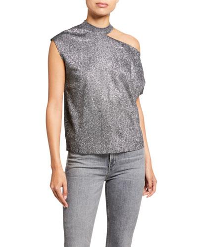 Axel Metallic Cutout Shirt  Silver
