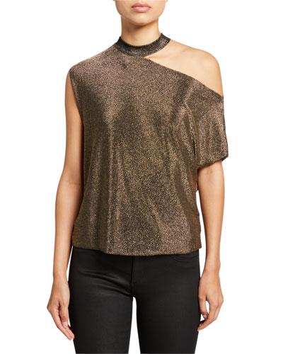 Axel Metallic Cutout Shirt  Gold
