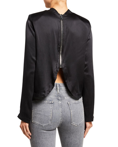 RtA Freddie Satin Mock-Neck Zip-Back Shirt