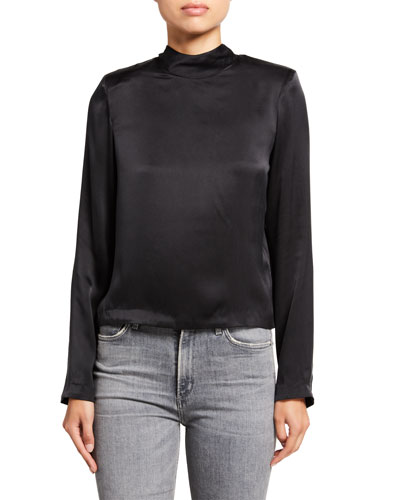 Freddie Satin Mock-Neck Zip-Back Shirt