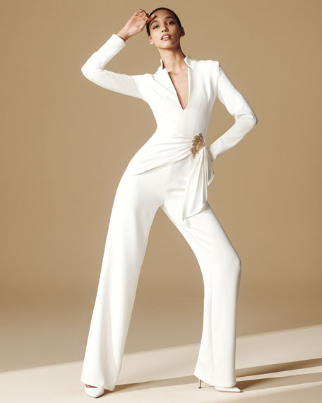 Image 2 of 3: Badgley Mischka Collection V-Neck Long-Sleeve Drape Front Jumpsuit w/ Bead Embellishment