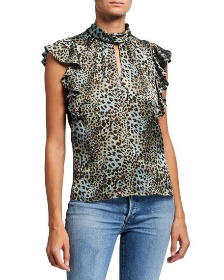 Rebecca Taylor Lynx Printed Mock-Neck Ruffle Top