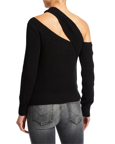 RtA Juliet Draped Off-Shoulder Sweater